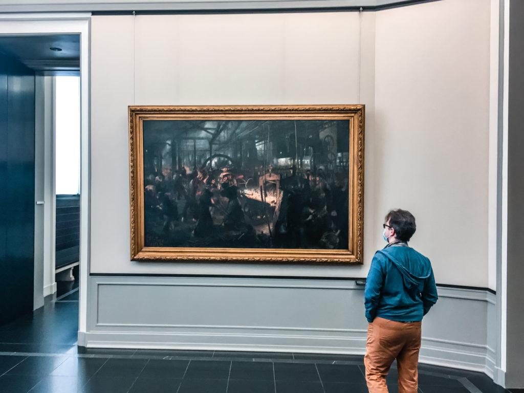 Stara Galeria Narodowa - Marcin podziwia dzieło Adolpha Menzela - Eisenwalzwerk