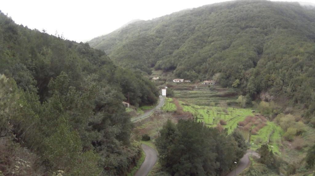 La Gomera - zielone wzgórza i farma z polami tarasowymi
